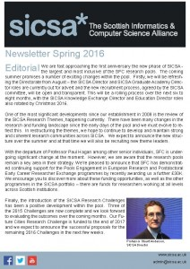 SICSA Newsletter Spring 2016 front cover